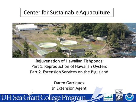 Rejuvenation of Hawaiian Fishponds Part 1. Reproduction of Hawaiian Oysters Part 2. Extension Services on the Big Island Daren Garriques Jr. Extension.