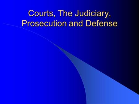 Courts, The Judiciary, Prosecution and Defense. Courts What is the court process intended to do?