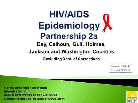 Bay, Calhoun, Gulf, Holmes, Jackson and Washington Counties Excluding Dept. of Corrections Florida Department of Health HIV/AIDS Section Annual data trends.
