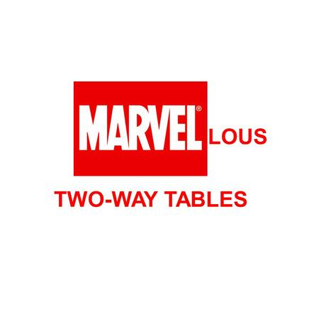 LOUS TWO-WAY TABLES. Wolverine's Table Fill in the blanks in Wolverine's two-way table of the people he knows: MutantHumanAlienTotal Good4372 Bad8435.