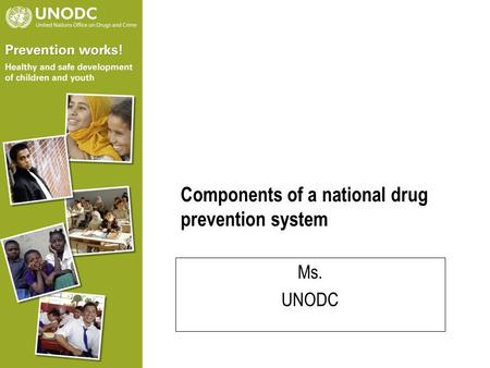 Components of a national drug prevention system Ms. UNODC.