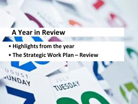 A Year in Review Highlights from the year The Strategic Work Plan – Review.