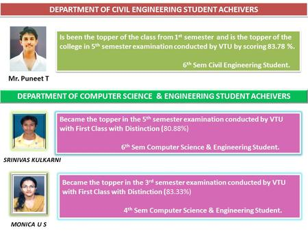 DEPARTMENT OF CIVIL ENGINEERING STUDENT ACHEIVERS Is been the topper of the class from 1 st semester and is the topper of the college in 5 th semester.