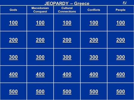 Gods Macedonian Conquest Cultural Connections ConflictsPeople 100 200 300 400 500 JEOPARDY – Greece FJ.