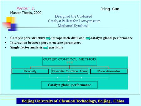 Poster 1, Master Thesis, 2000 Beijing University of Chemical Technology, Beijing, China Catalyst global performance Design of the Cu-based Catalyst Pellets.