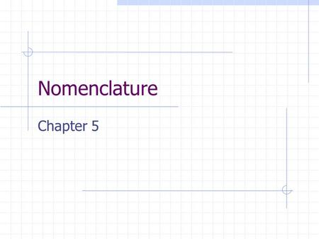 Nomenclature Chapter 5. Good News and Bad News Good News: No calculations! Bad News: Memorization!