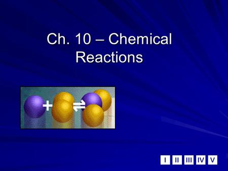 IIIIIIIVV Ch. 10 – Chemical Reactions. A. Signs of a Chemical Reaction Evolution of heat and light Formation of a gas Formation of a precipitate (solid)