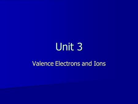 Unit 3 Valence Electrons and Ions. Subatomic Particles In an atom Protons and neutrons are clumped together in a very small dense nucleus In an atom Protons.