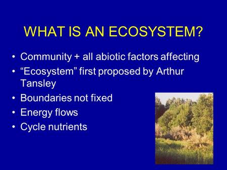 "WHAT IS AN ECOSYSTEM? Community + all abiotic factors affecting ""Ecosystem"" first proposed by Arthur Tansley Boundaries not fixed Energy flows Cycle nutrients."