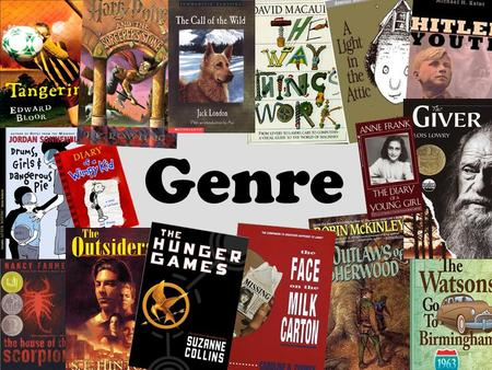 Genre. Genre is just a fancy way of saying different categories or types of books.