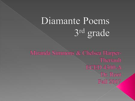  PLO: Students will produce a graphic organizer displaying the subject and corresponding words for the diamante poem.  GPS: ELA3W1 The student demonstrates.