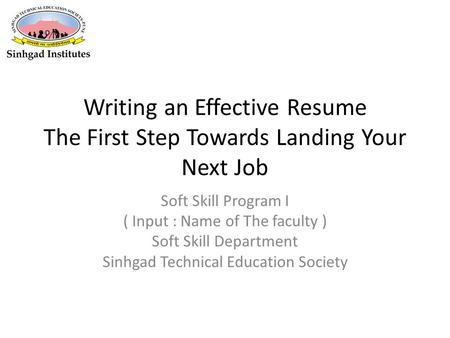 Soft Skill Program I ( Input : Name of The faculty )