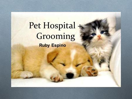 Pet Hospital + Grooming Ruby Espino. What it's all about O My idea is all about animals having great care. By creating a hospital that at the end of their.