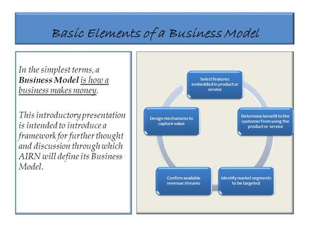 Basic Elements of a Business Model In the simplest terms, a Business Model is how a business makes money. This introductory presentation is intended to.