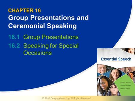© 2011 Cengage Learning. All Rights Reserved. CHAPTER 16 Group Presentations and Ceremonial Speaking 16.1Group Presentations 16.2Speaking for Special Occasions.