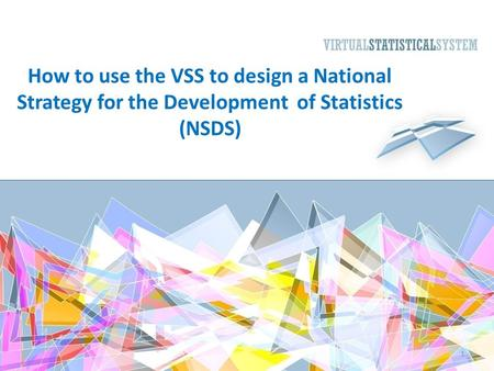 How to use the VSS to design a National Strategy for the Development of Statistics (NSDS) 1.