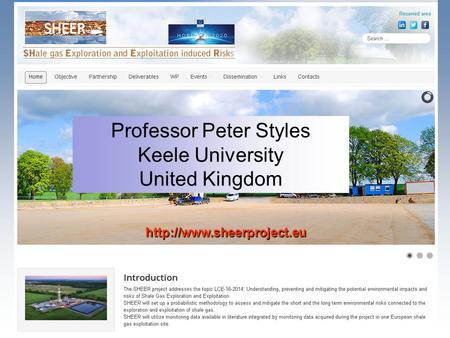 Professor Peter Styles Keele University United Kingdom.