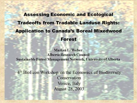 Marian L. Weber Alberta Research Council Sustainable Forest Management Network, University of Alberta Assessing Economic and Ecological Tradeoffs from.