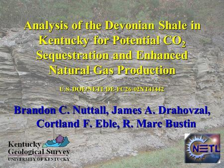 Analysis of the Devonian Shale in Kentucky for Potential CO 2 Sequestration and Enhanced Natural Gas Production Brandon C. Nuttall, James A. Drahovzal,