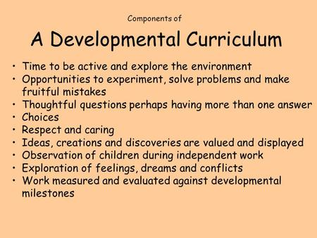 A Developmental Curriculum Time to be active and explore the environment Opportunities to experiment, solve problems and make fruitful mistakes Thoughtful.