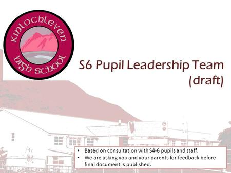 S6 Pupil Leadership Team (draft) Based on consultation with S4-6 pupils and staff. We are asking you and your parents for feedback before final document.