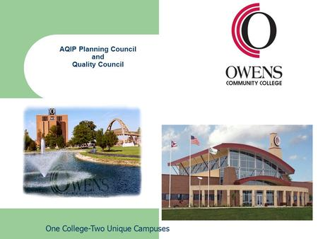 AQIP Planning Council and Quality Council One College-Two Unique Campuses.