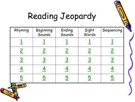 Reading Jeopardy RhymingBeginning Sounds Ending Sounds <strong>Sight</strong> <strong>Words</strong> Sequencing 11111 22222 33333 44444 55555.
