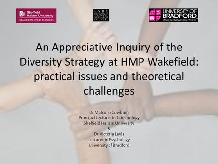 An Appreciative Inquiry of the Diversity Strategy at HMP Wakefield: practical issues and theoretical challenges Dr Malcolm Cowburn Principal Lecturer in.