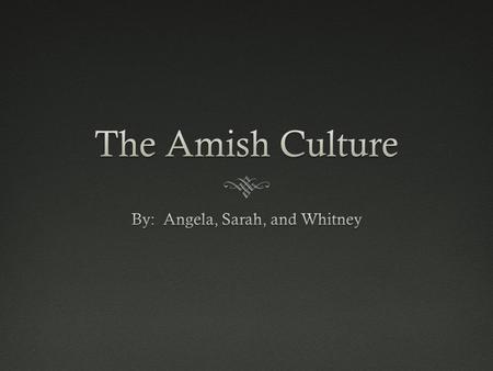 Why We Chose the AmishWhy We Chose the Amish The Amish Culture is located in America, but no one takes the time to examine it. Therefore, we wanted to.