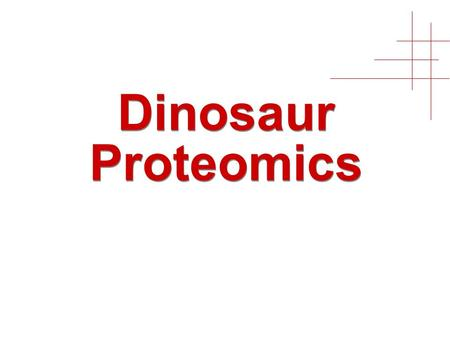 Dinosaur Proteomics. 2 Claims Proteins can be extracted from fossilized bones Extracted proteins can be analyzed by LC-MS/MS MS/MS can be matched to.