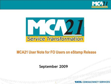 1 MCA21 User Note for FO Users on eStamp Release September 2009.