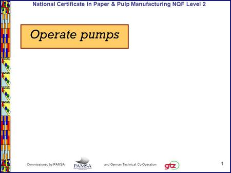 1 Commissioned by PAMSA and German Technical Co-Operation National Certificate in Paper & Pulp Manufacturing NQF Level 2 Operate pumps.
