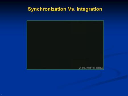 1 Synchronization Vs. Integration. 2 Integration through Mobile, Wireless, and Pervasive Computing Presentationto ITM 731 February 17, 2005 Presenter: