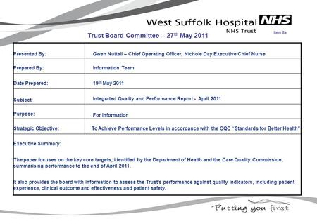 Presented By: Gwen Nuttall – Chief Operating Officer, Nichole Day Executive Chief Nurse Prepared By: Information Team Date Prepared: 19 th May 2011 Subject: