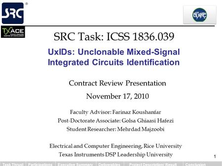 Task ThrustParticipationsExecutive SummaryDeliverables Project Description/ ResultConclusion 1 UxIDs: Unclonable Mixed-Signal Integrated Circuits Identification.