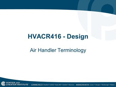 Air Handler Terminology