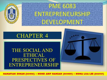 PME 6083 ENTREPRENEURSHIP DEVELOPMENT