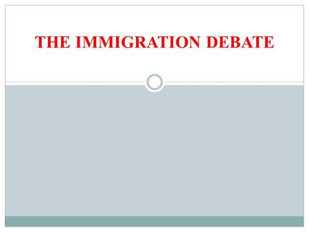THE IMMIGRATION DEBATE. REVISED CLASS SCHEDULE May 28: The Immigration Debate May 30: The Ebullience of Brazil June 04: The Latino Experience in America.