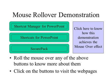 Mouse Rollover Demonstration Roll the mouse over any of the above buttons to know more about them Click on the buttons to visit the webpages Shortcut Manager.