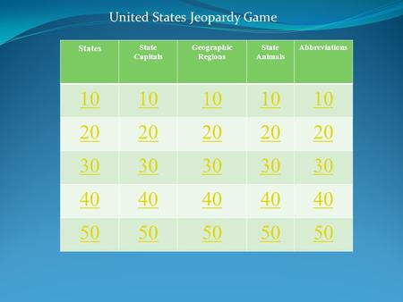 States State Capitals Geographic Regions State Animals Abbreviations 10 20 30 40 50 United States Jeopardy Game.