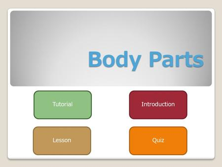 Body Parts Introduction LessonQuiz Tutorial To go back press this button To go to the next slide To go Home Help 1) If you would ever want to go back.