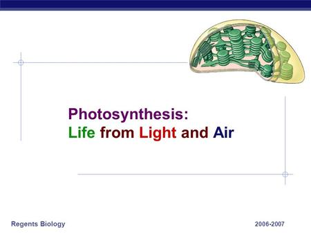 Regents Biology 2006-2007 Photosynthesis: Life from Light and Air.