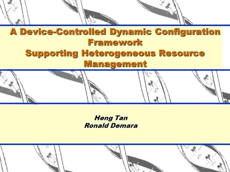 Heng Tan Ronald Demara A Device-Controlled Dynamic Configuration Framework Supporting Heterogeneous Resource Management.
