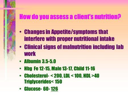How do you assess a client's nutrition? Changes in Appetite/symptoms that interfere with proper nutritional intake Clinical signs of malnutrition including.