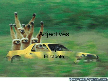 Adjectives By Elizabeth. An adjective is a word that describes a noun.