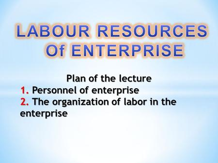 Plan of the lecture 1. Personnel of enterprise 2. The organization of labor in the enterprise.