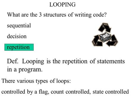 LOOPING What are the 3 structures of writing code? sequential decision repetition Def. Looping is the repetition of statements in a program. There various.