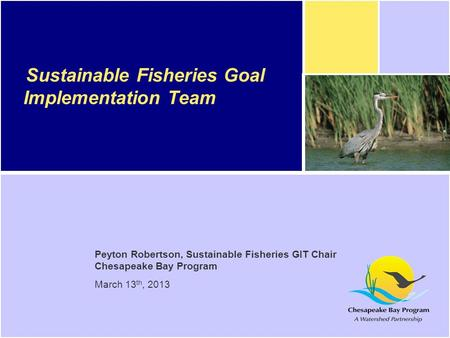 Peyton Robertson, Sustainable Fisheries GIT Chair Chesapeake Bay Program March 13 th, 2013 Sustainable Fisheries Goal Implementation Team.