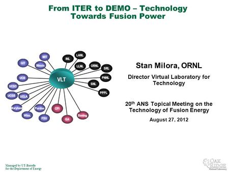 Managed by UT-Battelle for the Department of Energy Stan Milora, ORNL Director Virtual Laboratory for Technology 20 th ANS Topical Meeting on the Technology.
