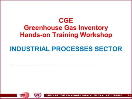 2.1 1 CGE Greenhouse Gas Inventory Hands-on Training Workshop INDUSTRIAL PROCESSES SECTOR.